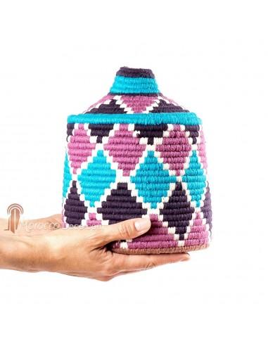 Boite vintage 20 cousue et tissée au fil de laine dans les tons violet, rose et turquoise