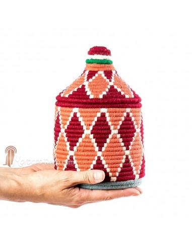 Boite vintage 23 cousue et tissée au fil de laine dans les tons rouge et orange