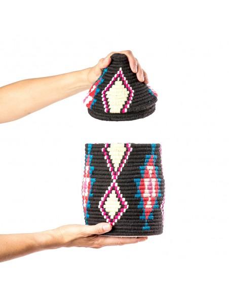 Boite vintage 34 cousue et tissée au fil de laine multicolore
