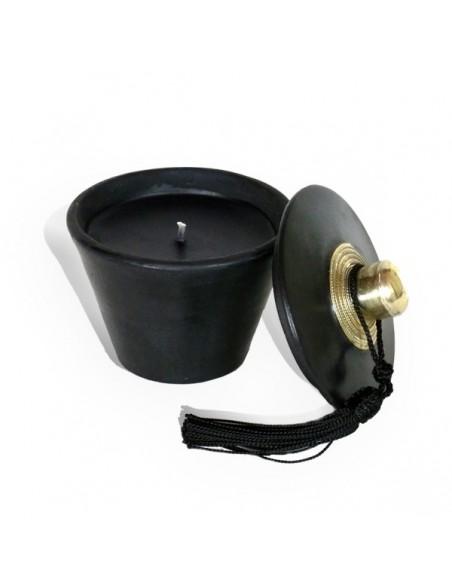 Bougie parfumée tadelakt conique noir