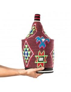 Grande boite vintage 43 cousue et tissée au fil de laine bordeaux avec des formes multicolores