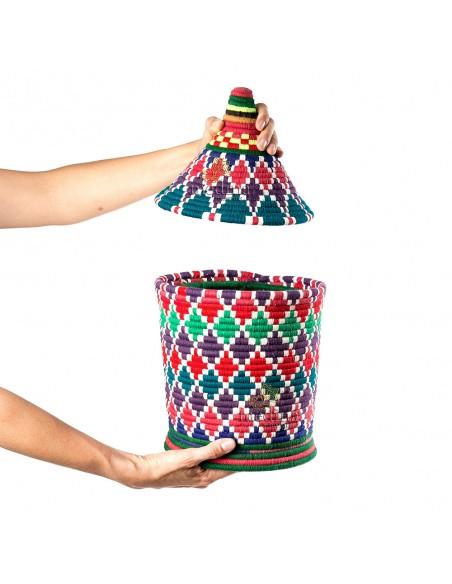 Grande boite vintage 46 cousue et tissée au fil de laine dans les tons violet, vert et rouge