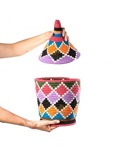 Grande boite vintage 48 cousue et tissée au fil de laine multicolore