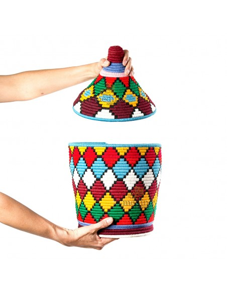 Grande boite vintage 49 cousue et tissée au fil de laine multicolore
