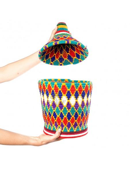 Grande boite vintage 38 cousue et tissée au fil de laine multicolore