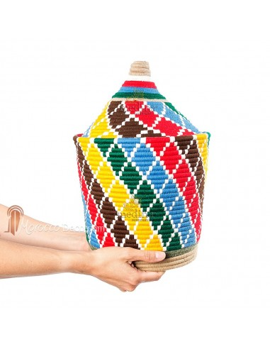 Grande boite vintage 42 cousue et tissée au fil de laine multicolore