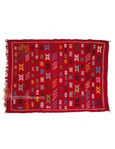 Tapis vintage fait main, tapis berbère aux motifs ethniques sur fond rouge