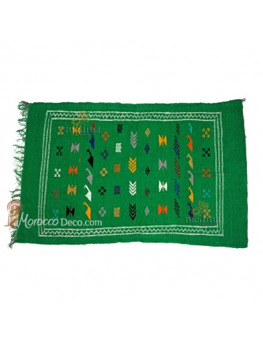 Tapis vintage fait main, tapis berbere aux motifs ethniques sur fond vert