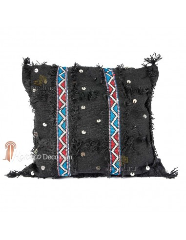 Coussin vintage carré tissé et brodé à la main couleur noir