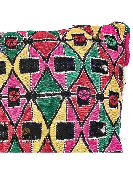 Coussin vintage tissé à la main, coussin kilim multicolore