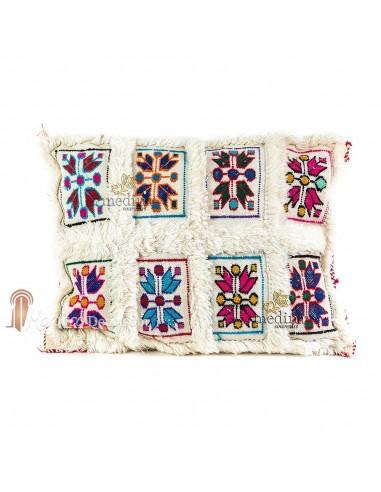 Coussin rectangulaire vintage blanc tissé à la main et broderies multicolores