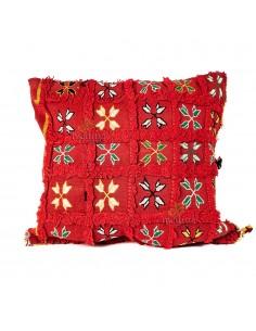 Coussin vintage carré rouge tissé à la main motifs brodés