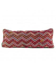Grand coussin vintage rectangulaire tissé à la main couleurs rouge et bordeau
