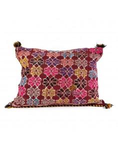 Coussin vintage tissé à la main, coussin en laine vierge coloré avec pompoms