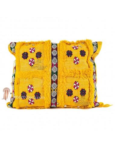 Coussin rectangulaire vintage jaune tissé à la main et broderies multicolores, coussin vintage tissé à la main