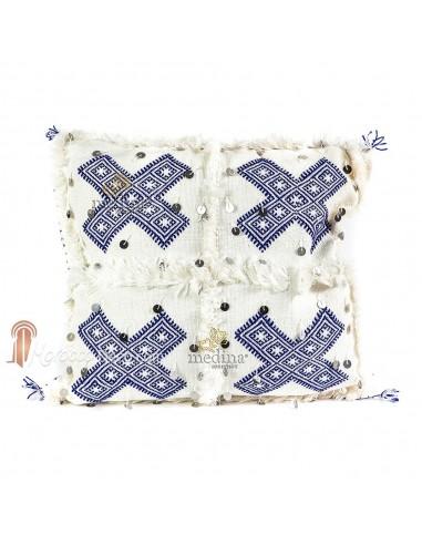 Coussin vintage berbere en laine vierge tissé main blanc motifs bleus