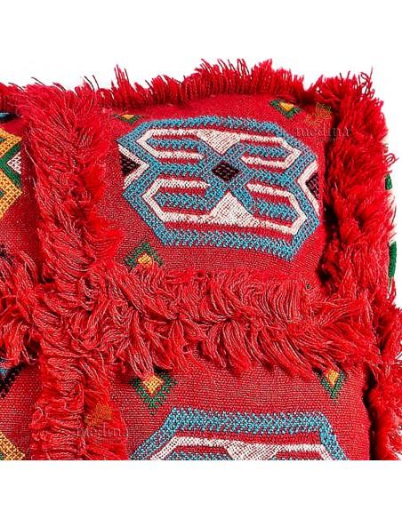 Coussin vintage rectangulaire rouge tissé à la main motifs brodés