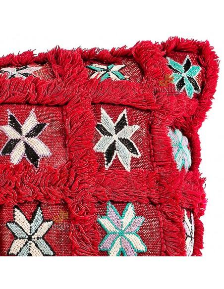 Grand coussin vintage rectangulaire rouge tissé et brodé main