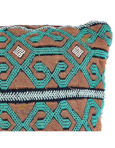 Coussin vintage couleur vert et taupe coussin rectangulaire tissé et brodé à la main