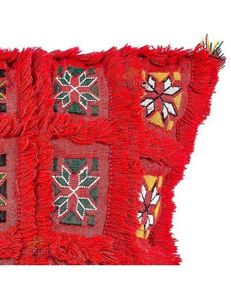 Coussin carré vintage rouge vif tissé et brodé main