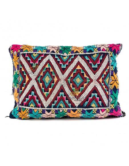 Coussin vintage tissé à la main motifs multicolores