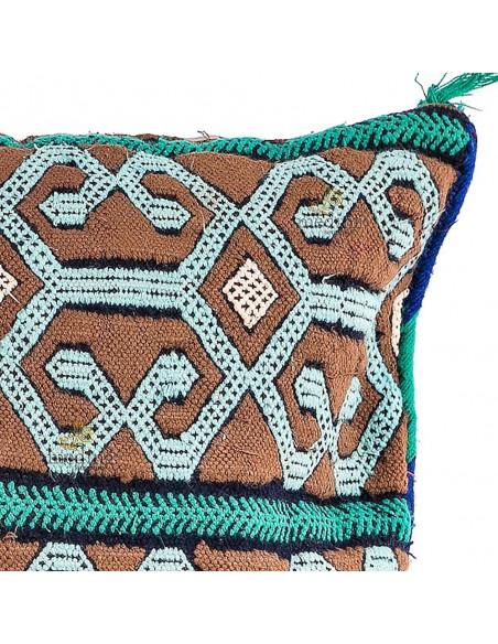 Coussin vintage couleur vert, taupe et blanc, coussin rectangulaire tissé et brodé à la main