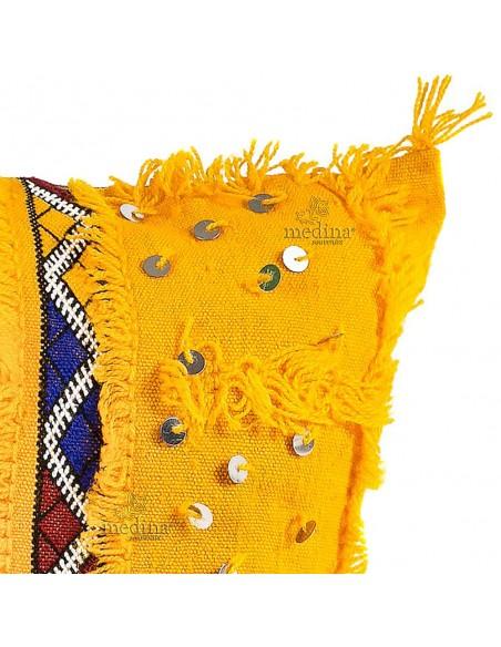 Coussin vintage tissé à la main en laine multicolores