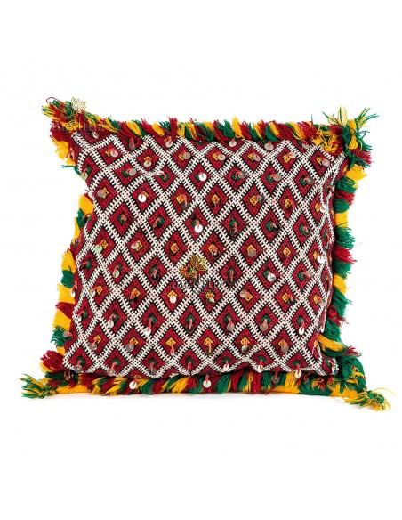 Coussin Kilim agrémenté de passementerie argentée, coussin berbere tissé à la main