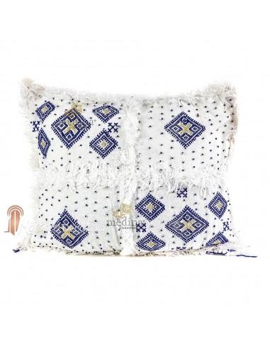 Coussin vintage berbère 100% laine vierge tissé main blanc motifs asymétriques bleus
