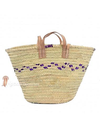 Panier marocain avec poignées en cuir naturel et liseret violet