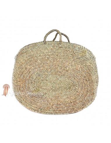 Panier marocain classique rond avec poignées en corde tressée