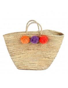 https://moroccodeco.com/paniers/744-panier-marocain-design-avec-poignees-en-corde-tressee-et-pompons-orange-violet-et-rouge.html