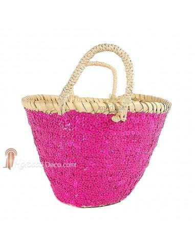 Panier marocain design avec poignées en corde tressée et décoré de paillettes rose
