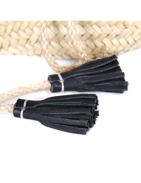 Panier marocain avec grandes poignées plates en cuir noir et fermeture originale