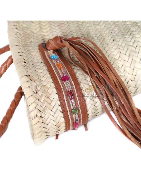 Panier marocain avec grandes poignées tressées en cuir marron