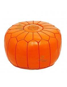 Pouf design cuir marocain orange, pouf en cuir véritable fait main
