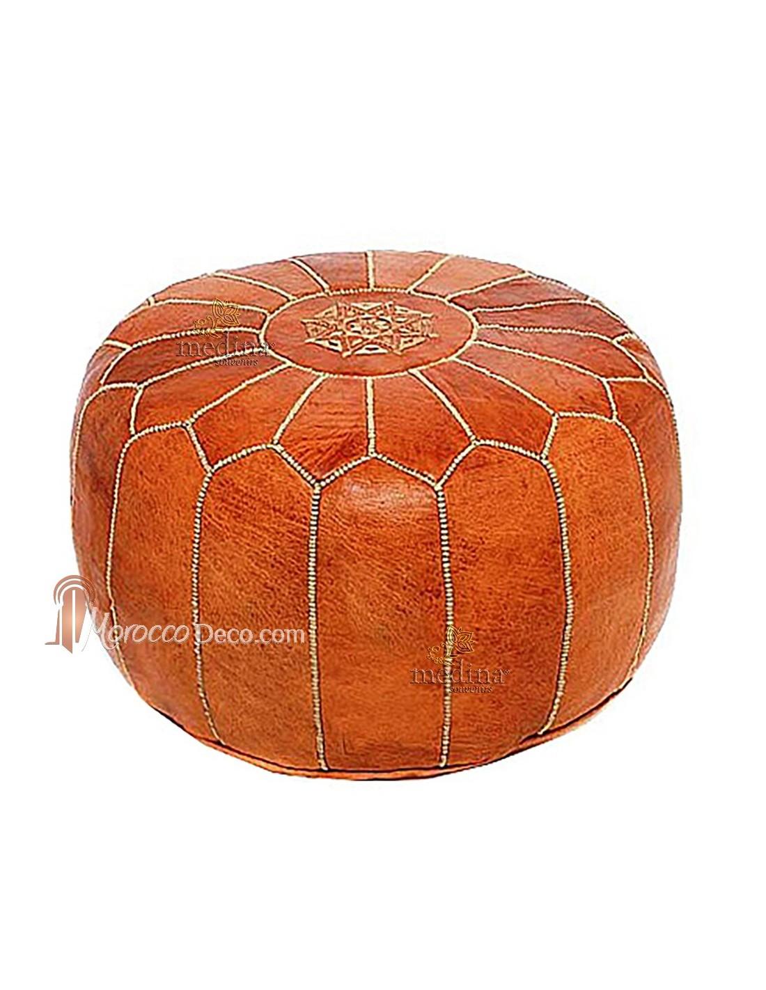 pouf design cuir marocain marron fabriqu et cosu la main. Black Bedroom Furniture Sets. Home Design Ideas