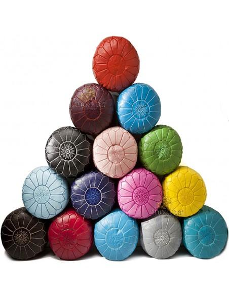Pouf design cuir marocain bleu clair, pouf en cuir véritable fait main