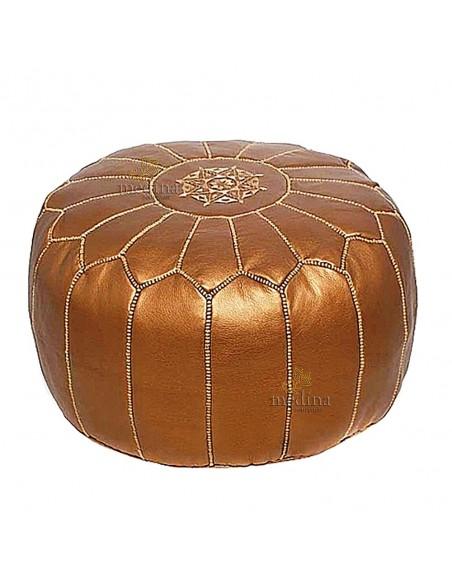 Pouf design cuir marocain Cuivre, pouf en cuir véritable fait main