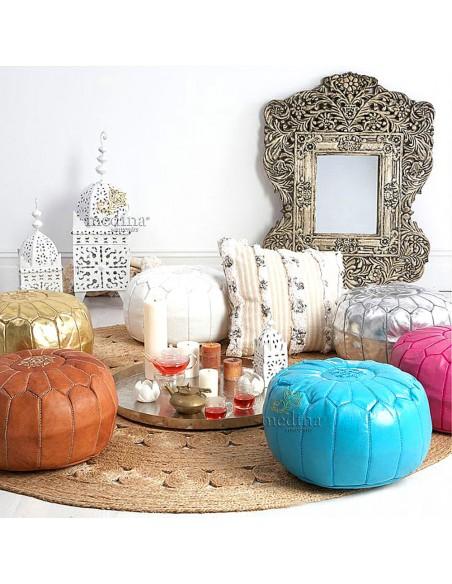 Pouf design cuir marocain rose, pouf en cuir véritable fait main