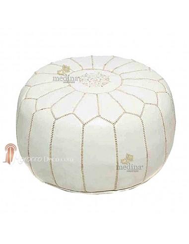 pouf design marocain blanc fabriqu et cousu la main. Black Bedroom Furniture Sets. Home Design Ideas