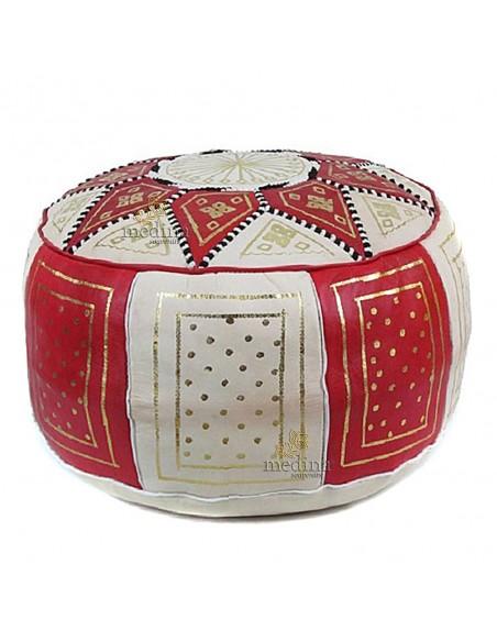 Pouf fassi en cuir rouge et blanc, pouffe en cuir veritable fait main