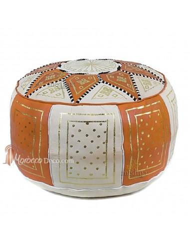 pouf fassi en cuir orange et blanc. Black Bedroom Furniture Sets. Home Design Ideas