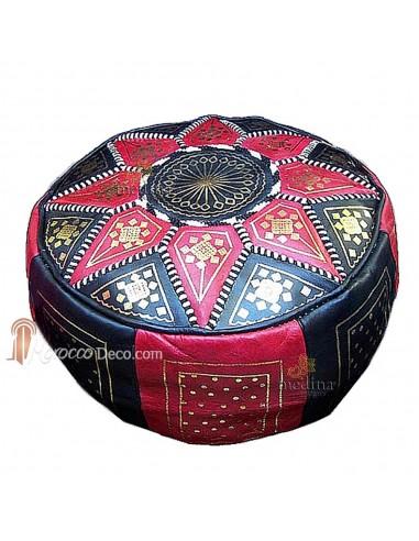 Pouf fassi en cuir Rouge et Noir, pouffe marocain en cuir veritable fait main