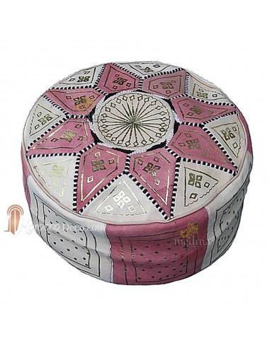 Pouf fassi en cuir rose et blanc, pouffe marocain en cuir veritable fait main
