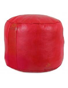Pouf rond rosace rouge, pouffe en cuir veritable fait main