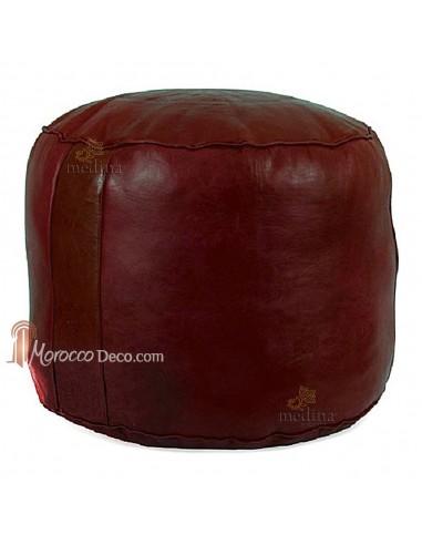 Pouf rond rosace bordeau, pouffe en cuir veritable fait main