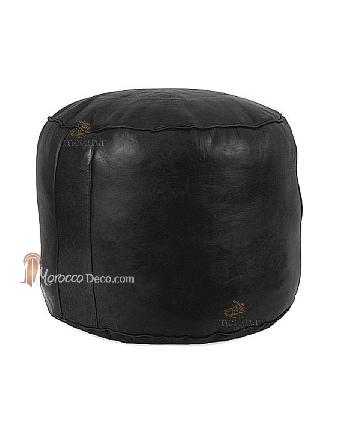 pouf cuir rond rosace noir pouf marocain en cuir noir. Black Bedroom Furniture Sets. Home Design Ideas