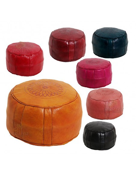 Pouf rond rosace Noir, pouffe en cuir veritable fait main