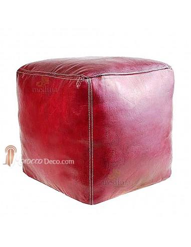 Pouf marocain cube bordeau, pouf carré artisanal en cuir veritable